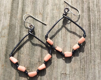 Dark Patina Copper Wire and Genuine Coral Earrings Pink Coral