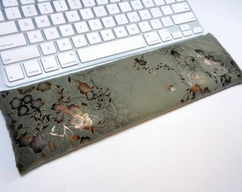 Keyboard Wrist Rest in Olive and Copper faux suede - Optional mouse rest - choose size / scent - Computer wrist support