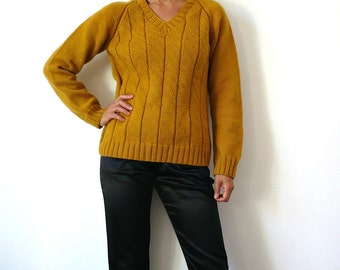 French Vintage 70s Hand Knit Mustard Wool Men/ Women Sweater