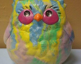 Hand painted ceramic tie dye looking owl
