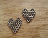 2 Antique Silver Valentine Heart Pendants 32mm x 31mm x 2.5mm