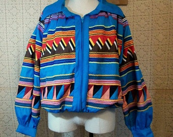 Funky Handmade Patchwork  Windbreaker Jacket Blue Coat of Many Colors