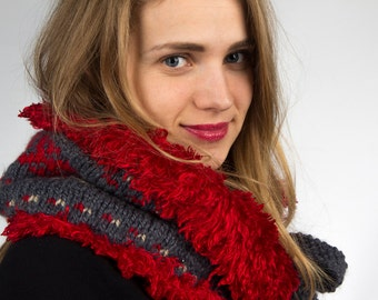 Cowl neck warmer double-sided in grey with red ornament and bright red fur. Scarf, collar
