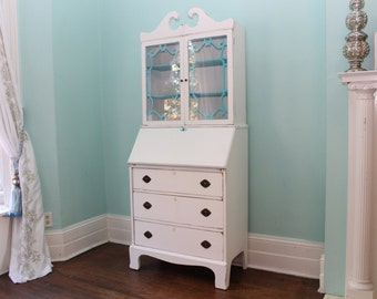 custom order antique secretary desk white distressed turquoise blue shabby chic beach coastal cottage prairie vintage