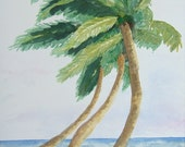 Three Palm Trees, 11x14 watercolor painting, a Nan Henke original