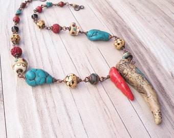 Rustic Tribal Necklace, Red and Turquoise, Faux Ivory, Eclectic Jewelry, Bohemian Necklace