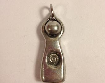 Spiral Goddess Maiden Pendant, Necklace (sacred feminine, spiral, moontime, menarche, initiation)