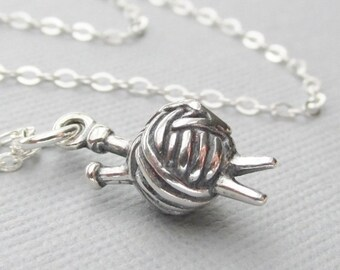 Knitting Lovers Necklace, Sterling Silver Yarn Knitting Needles, Knitting Charm Necklace, Hobby Charm Necklaces, Ball Of Yarn Necklace