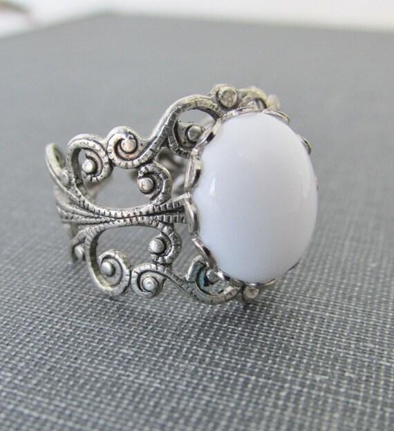 Items Similar To White Milk Glass Stone Ring Silver