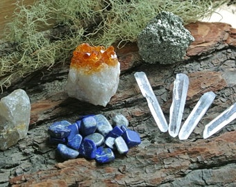 Stone Set // Crystal Grid Set // Altar Stones // Wicca // Crystals // Healing Stone Lot // Reiki // Chakra // Rough Stone // Crystal Healing