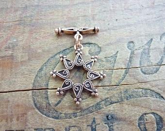 Toggle Clasp Copper Toggle Ornate Toggle Bali Style Toggle Clasp (1) IC303