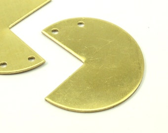 Raw Brass Pacman, 10 Raw Brass Three Quarters Stamping Blank Pendant with 2 Holes (30x25x0.80mm) B0052