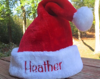 ADULT size personalized Santa Hat.  ADULT size.  Lots of font choices.