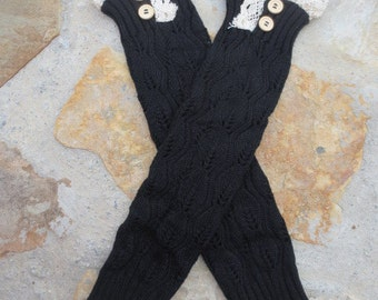 SALE... and ready to ship!.  Ladies Black Lace Boot Cuffs.  Boot Toppers.  Leg Warmers.  Boot sock.