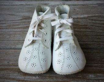 White Leather Baby Shoes Size 2