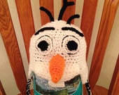Frozen Olaf inspired crocheted hat - Made to Order