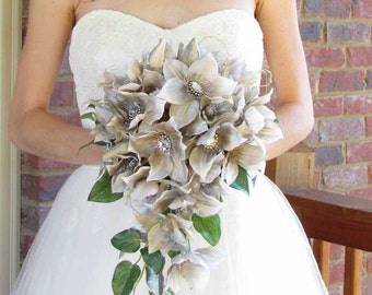 Gatsby Wedding Bouquet with Champagne Clematis & Iridescent Rhinestones for your Wedding, Example Only!! DO NOT PURCHASE