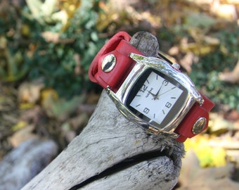 Embers Buckled Red Leather Watch-Band and Watch-face