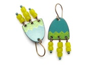 Yellow and Green Dangle Earrings - Green Enamel Earrings with Yellow Dangles - Copper Earrings