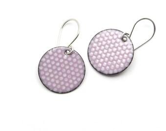 Pink Enamel Earrings - Polka Dot Earrings - Pastel Pink Enamel - Pink Earrings - Dangle Earrings - Enamel Jewelry
