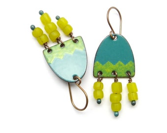 Yellow and Green Dangle Earrings - Green Enamel Earrings with Yellow Dangles - Copper Earrings