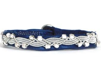 """SwedArt B111 Icy River Lapland Sami Reindeer Bracelet with Handmade Faceted Solid Silver Beads Pewter Button 3/8"""" Wide Navy Blue XX-SMALL"""