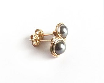 Dark Silver Grey Swarovski Crystal Pearl Stud Earrrings, Handmade, Rolled Gold Filled, wire wrapped, post earrings