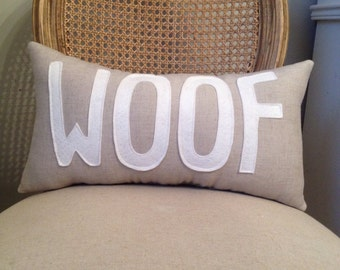 WOOF Pillow in Natural Linen and White Felt - Dog Lover