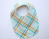 Modern Baby Bib with Organic Flannel- Metallic Gold and Aqua Plaid- Spring Pastels- Easter Baby