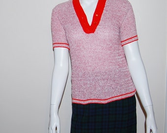 Vintage Sweater Red with White 1960's