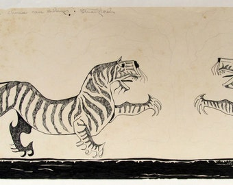 Chinese Tiger,  pen and ink, drawn & signed by the artist,  Only one