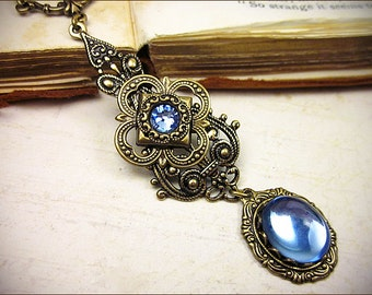 Renaissance Necklace, Light Sapphire, Blue, Tudor, Pendant, Medieval Jewelry, Ren Faire, Garb, Renaissance Jewelry, Avalon