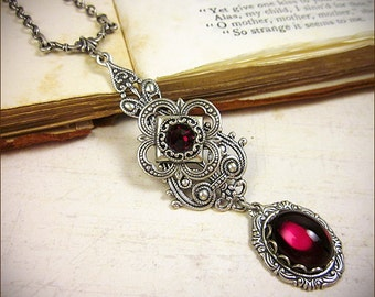 Red Renaissance Necklace, Garnet, Victorian Bridal Jewelry, Tudor Costume, Medieval Wedding, Handfasting, Ren Faire, Garb, Choose Your Color