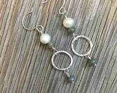 Storm and sea Earrings: Hammered, fused, fine silver hoops with labrodorite and freshwater pearls handmade jewelry gemstone earrings