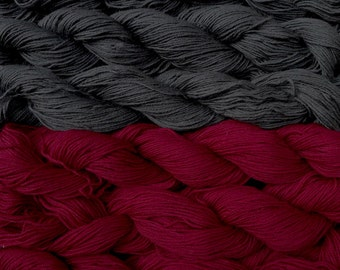 Pure wool yarn Fingering weight,  dark gray and wine, 6 skeins