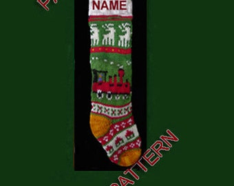 Pattern only  ---  Hand knit Christmas stocking,  train, house and deer