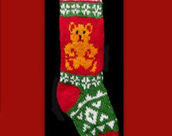 Hand knit Christmas stocking,  Personalized, made of pure wool yarn,  fully lined -- Snowflake and golden bear