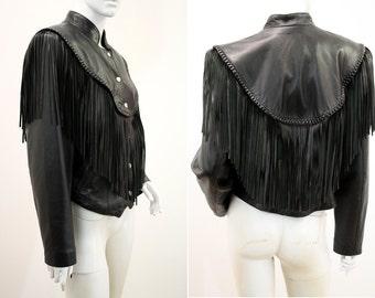 Super Soft Black Leather Woman's Fringe Moto Jacket