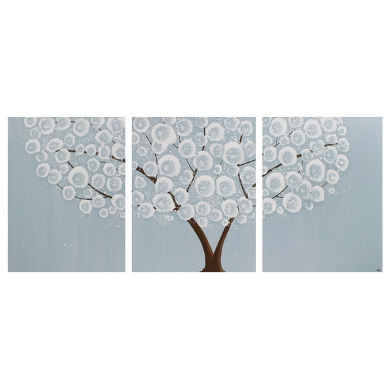 large painting tree wall art on canvas triptych three piece