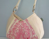 Small Shoulder Bag - Handmade Handbag in creamy white fabric print