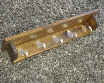 5 Personalized Spoon Hooks Coat Rack Shelf in Any Finish