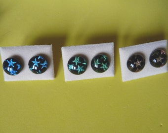 Sterling Silver Dichroic Glass Stud Earrings Stars Blue Green Pink Handmade