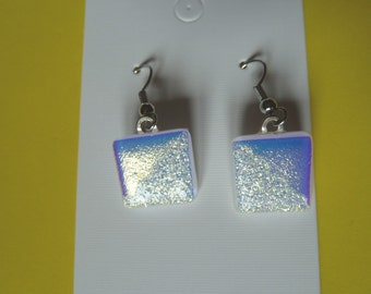 Hypo-Allergenic White with Gold Dichroic Glass Drop Earrings with Surgical Steel Ear Wires Ideal Wedding Jewellery