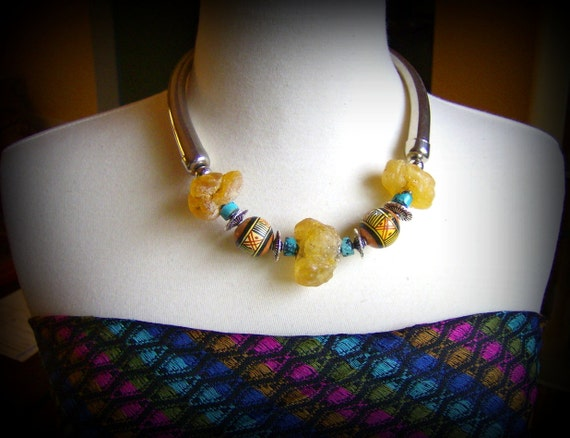 Tribal Necklace Handmade from Amber, Peruvian Beads, Turquoise, Sterling Silver & Upcycled Vintage Silver Plate Horns FREE SHIPPING USA