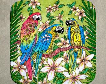 Coasters Set of 4, Home decor, Parrot Paradise