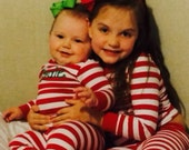 Personalized Christmas Pajamas- Red and white striped Christmas Pajamas Personalized Christmas Mornings PJS