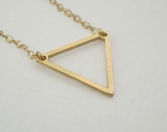 Triangle Necklace, Geometric Necklace, Triangle Charm, Shape Necklace