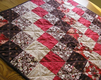 Quilted Table Runner / Topper /  Wall Hanging / Baby Quilt in Red and Brown 31 x 39 1/2 inches