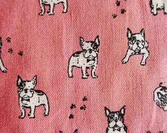 Animal Print Fabric - Pug Power on Pink - Cotton Linen Blend Fabric By The Yard - Half Yard