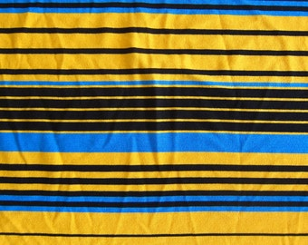 Knit Fabric - Cotton Jersey in Mustard Yellow Blue Black Stripes - Half Yard